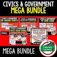 Civics Mega Bundle, Government Mega Bundle, Civics and Government Curriculum, Anchor Charts, Games, Digital Interactive Notebook, Google Classroom, Word Wall, Choice Boards, Guided Notes, PowerPoints, Test Prep, Document Based Questions