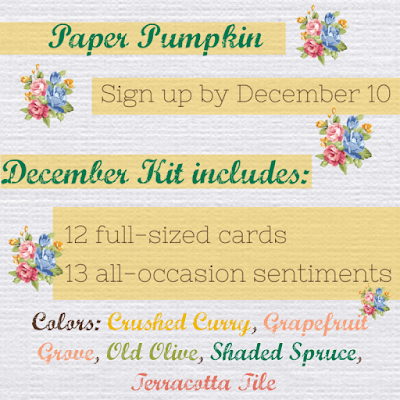 December 2019 Something for Everything Paper Pumpkin kit contents and colors