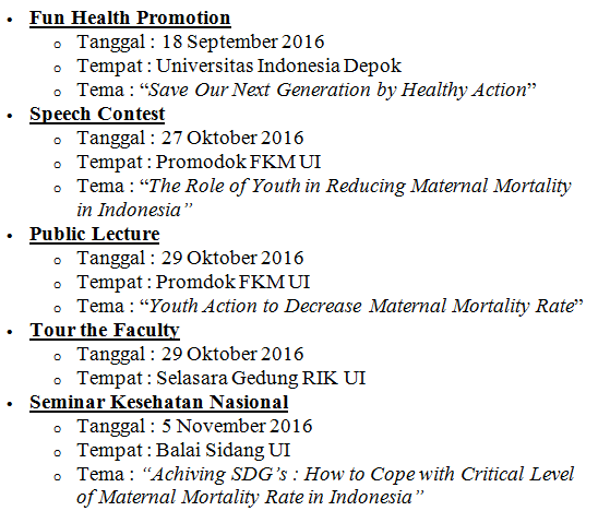 program Event UI - Public Health Expo 9 Universitas Indonesia
