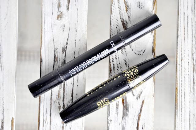 tusz do rzęs eveline cosmetics big volume cat eyes, kredka do oczu gosh giant pro double liner