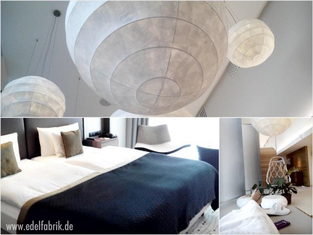 Das Doppelbett und der Spabereich des Steigenberger Hotels in Berlin