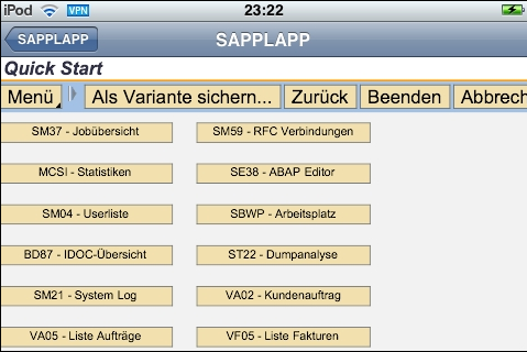 SAP GUI for iPad, iPod and iPhone