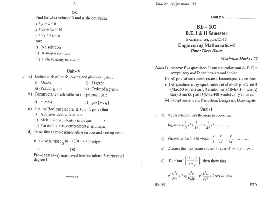 RGPV BE Question Paper of BE-102 Engineering Mathematics-I