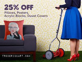 tom roderick art pillow promo 25% off troderickart.com