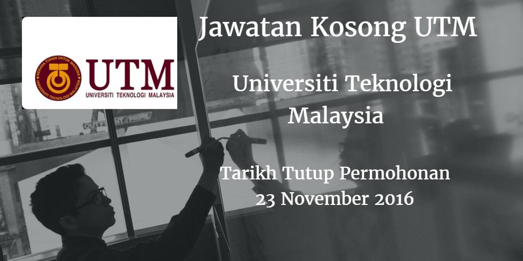 Jawatan Kosong UTM 23 November 2016