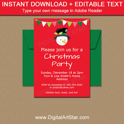Printable snowman invitation template for your christmas party