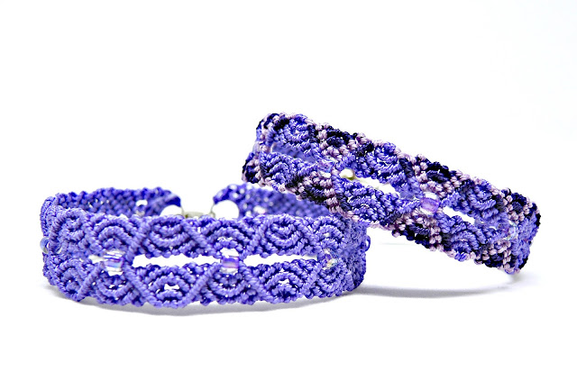 Ripples in Micro macrame bracelet, an original design by Sherri Stokey.