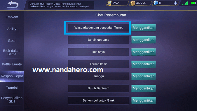 mobile legends quick chat