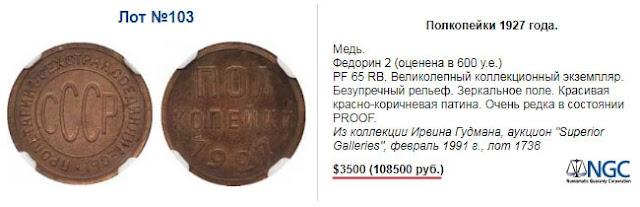 Полированные полкопейки 1927 года