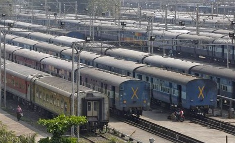 Indian Railways Scam Trains in a line aside each other