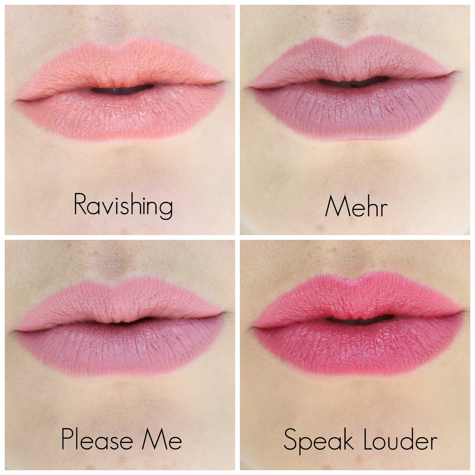 MAC Lipstick Swatches: Ravishing  Mehr  Please Me  Speak Louder