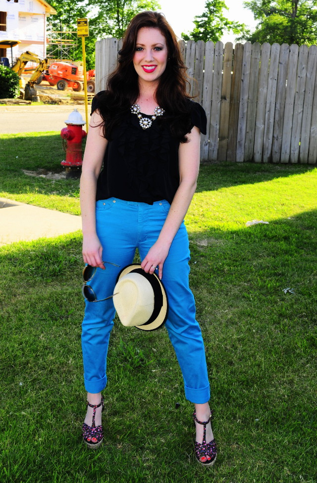 DIY Aqua Skinny Jeans with Black Ruffle Blouse and Fedora plus Floral Wedges