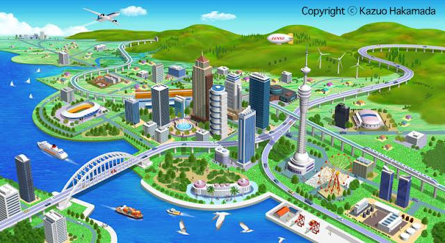 街並み、俯瞰、スマートシティ、未来都市、エコ、鳥瞰、風景、街並みイラスト、ビル、建物、都市計画、