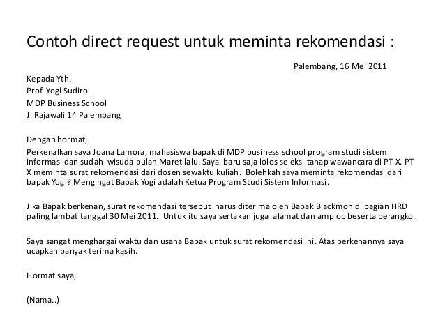 contoh surat permohonan rekomendasi kerja