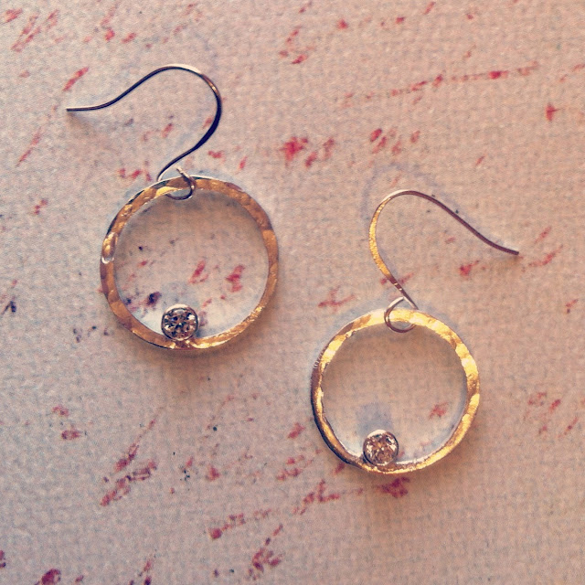 Tube Set Silver Round Earrings