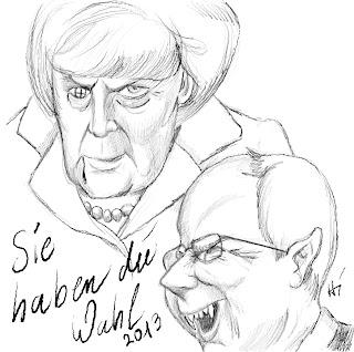 Christian Hildebrandt, Karikatur Merkel Steinbrück, Bundestagswahl Deutschland 2013