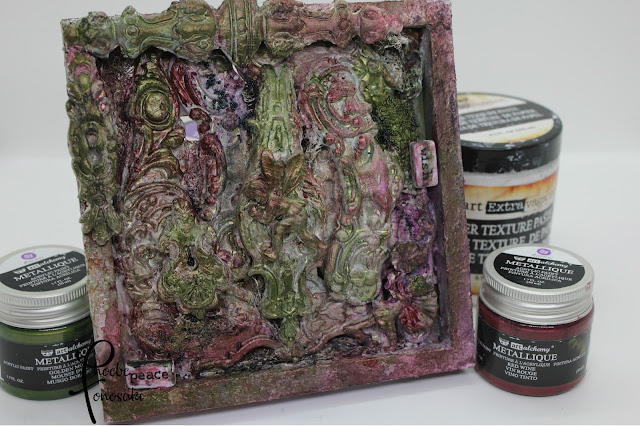 Mixed Media Altered food tray by Phoebe Tonosaki