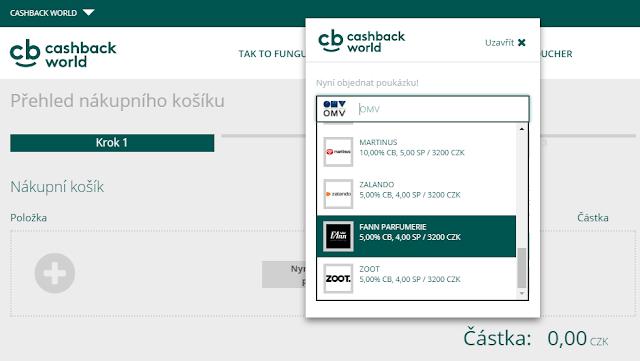 Cashback World - výběr poukázky
