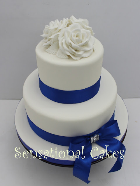 The Sensational Cakes White Roses 2 Tier Blue Wedding
