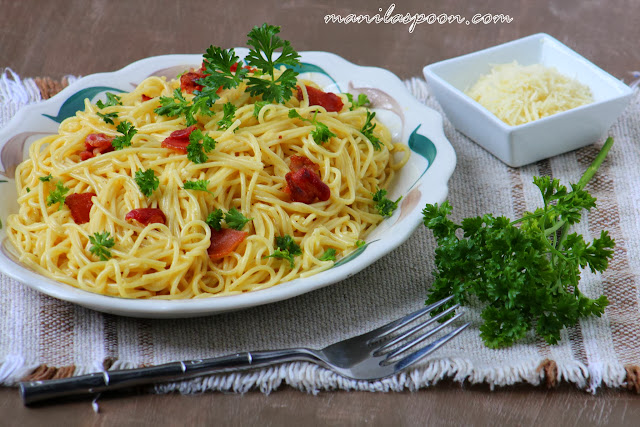 With just a few ingredients, this classic version of Spaghetti alla Carbonara is so quick and easy to make and totally delicious, too!  A big family favorite!