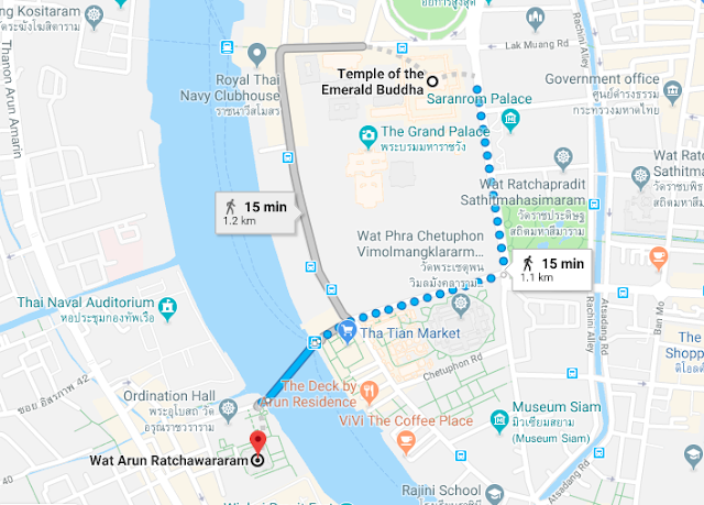 How to go to Wat Arun from Wat Phra Keaw or The Grand Palace