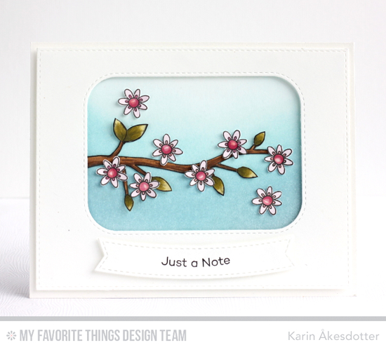 Cheery Note Card by Karin Åkesdotter featuring I'm Tweet on You stamp set and Die-namics, Inside and Out Stitched Rounded Rectangle STAX, Blueprints 28,  and Stitched Rectangle STAX Die-namics #mftstamps