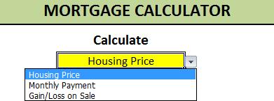 mortgage calculator selection