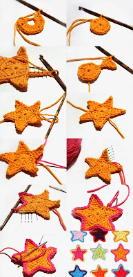Tığ işi Yıldız Şeklinde Çiçek Modeli Resimli Anlatım