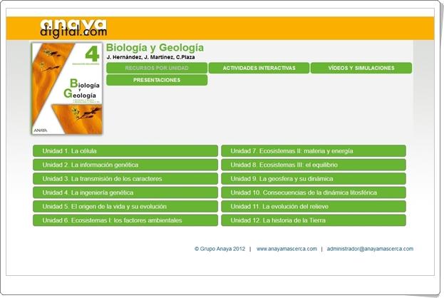 """Anaya Digital: """"Biología y Geología de 4º de Secundaria"""""""