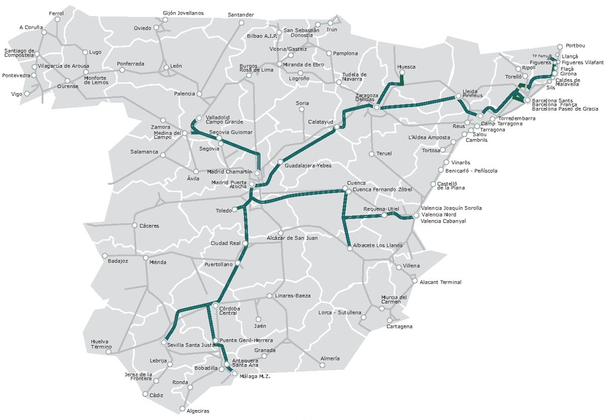 Trains In Spain Map.Travel Around Spain Transport