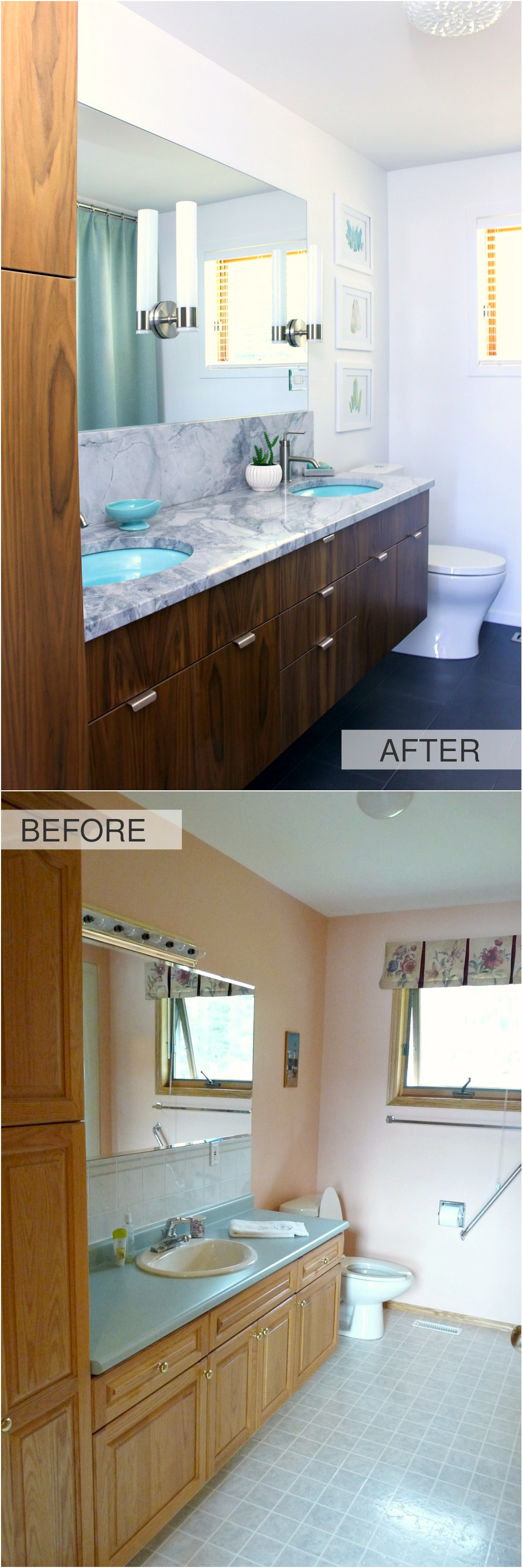 Mid-Century Modern Inspired Bathroom Before and After