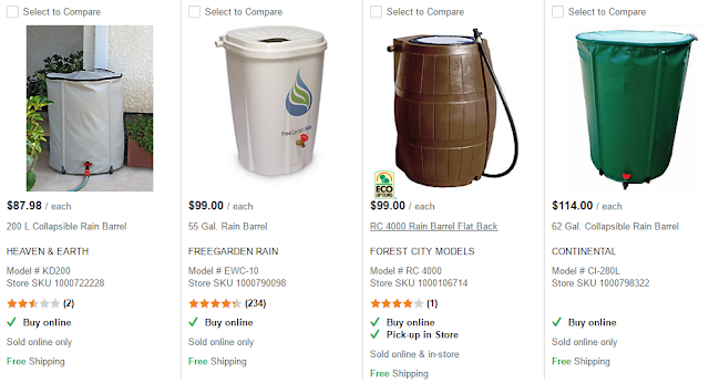 List of rain barrels at home depot