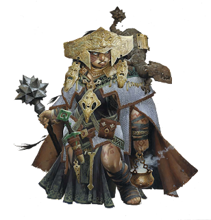 The official illustration of Shardra, the first trans character in Pathfinder, an excellent representation of diversity in gaming. She is a dwarven female in elaborate shaman clothing, holding a large mace, with a fantastical lizard-like creature on her shoulder.
