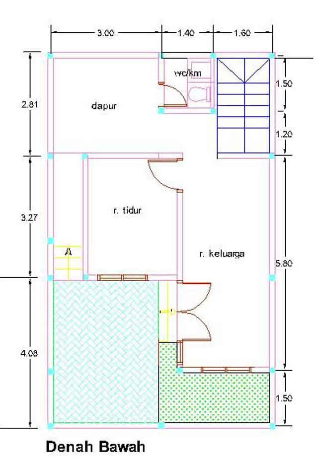 Contoh Denah Rumah Kopel KPR-BTN Type 21/60 | Gambar ...