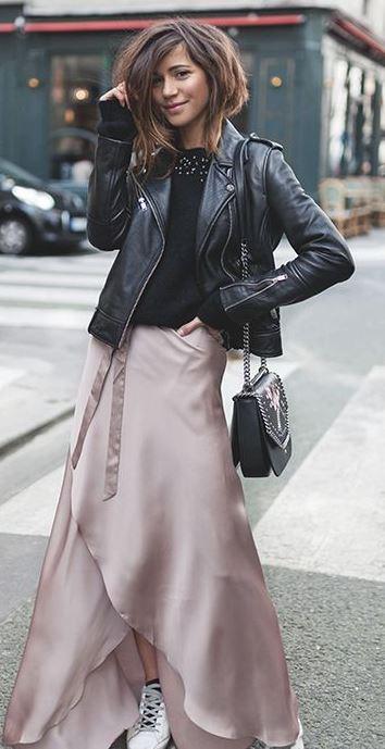 fashion trends | silk maxi skirt + black jacket + bag + top