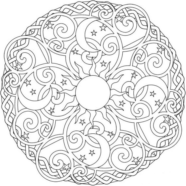 Sun Moon And Stars Mandala Coloring Pages
