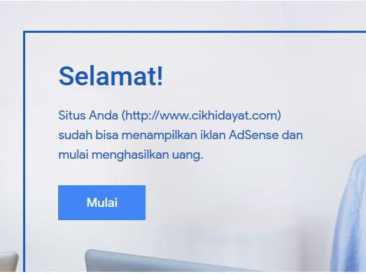 Cara blog cik hidayat diterima adsense