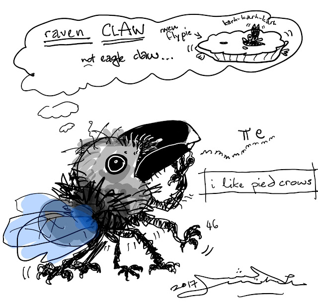 a cartoon of a pied crow and fly chromosplit mashup