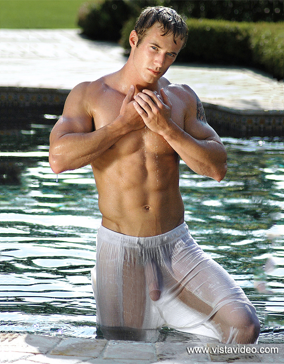 Bulge in wet men underwear with