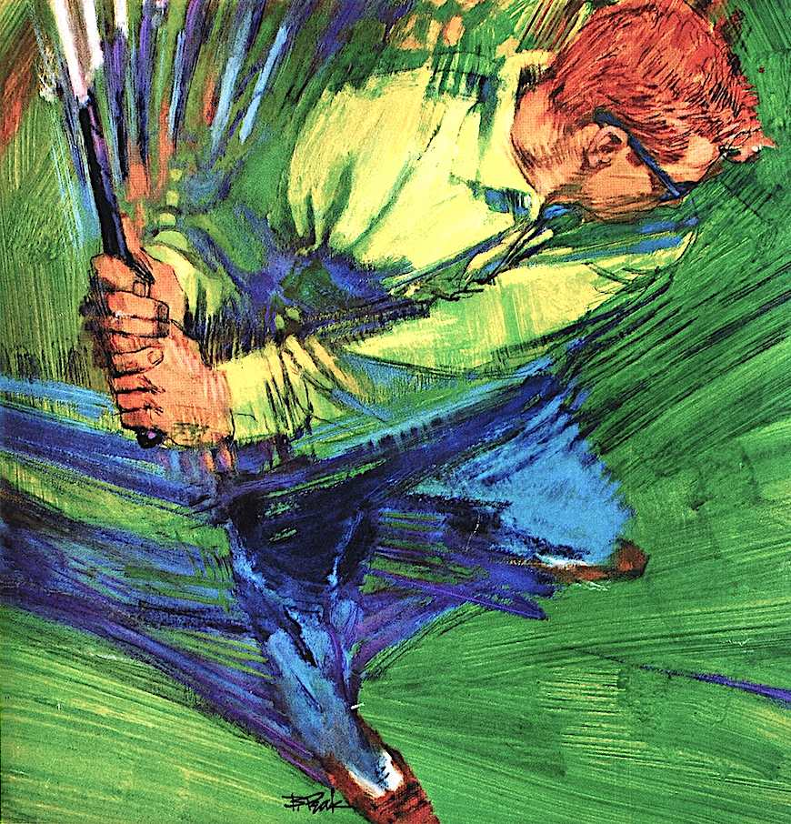 a Bob Peak illustration of a golfer's swing