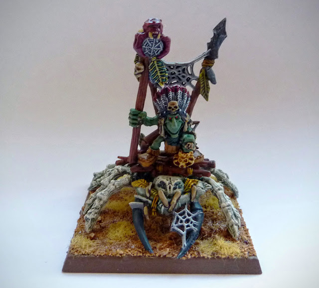 Goblin Big Boss on Gigantic Spider conversion for Warhammer Fantasy Battle