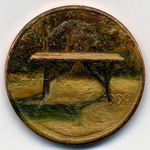 07-The-Last Supper-Table-1990-Artist-Jacqueline-L-Skaggs-Discarded-Pennies-Oil-Painting-on-Coins-www-designstack-co