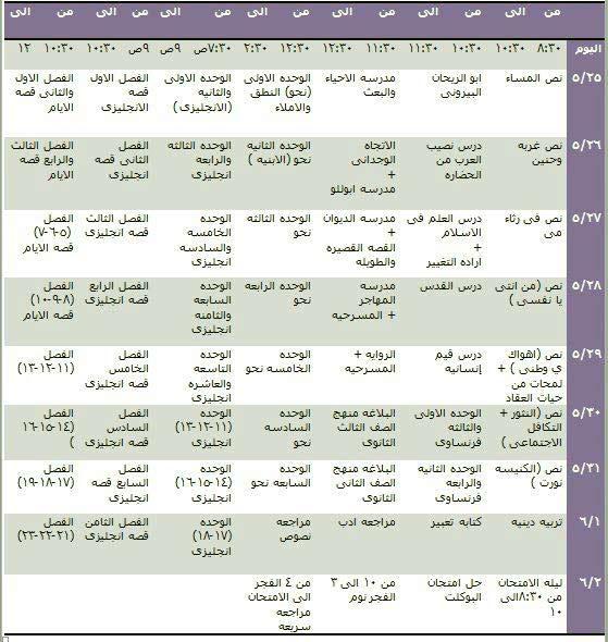 جدول مذاكرة يومي ثانوية عامة 2018
