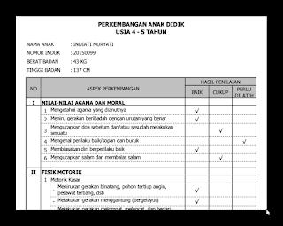 Kumpulan Contoh Raport PAUD,TK,KB Dan TPA Lengkap Terbaru 2016