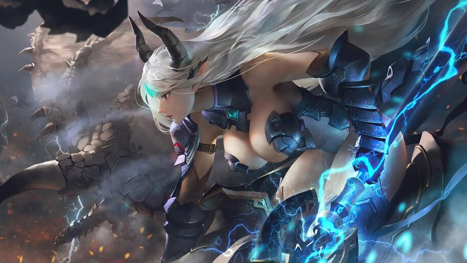 Anime, Girl, Warrior, Fantasy, Epic Seven, Luna, 4K, #6.2284