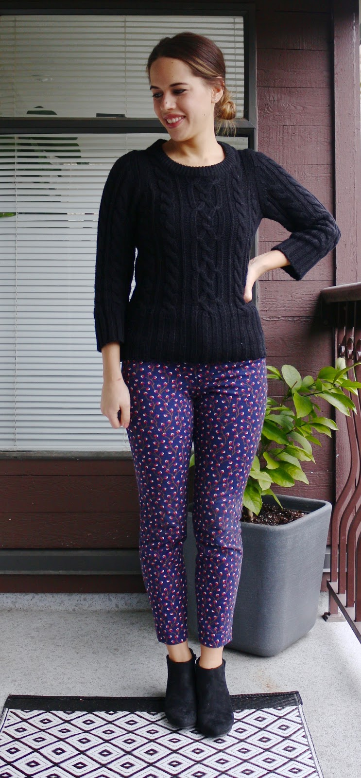 Jules in Flats - January Work Outfits (Cable-knit Sweater with patterned Pixie pants)