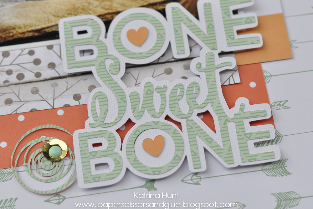 Bone Sweet Bone Scrapbook Page by Katrina Hunt for 17turtles Digital Cut Files