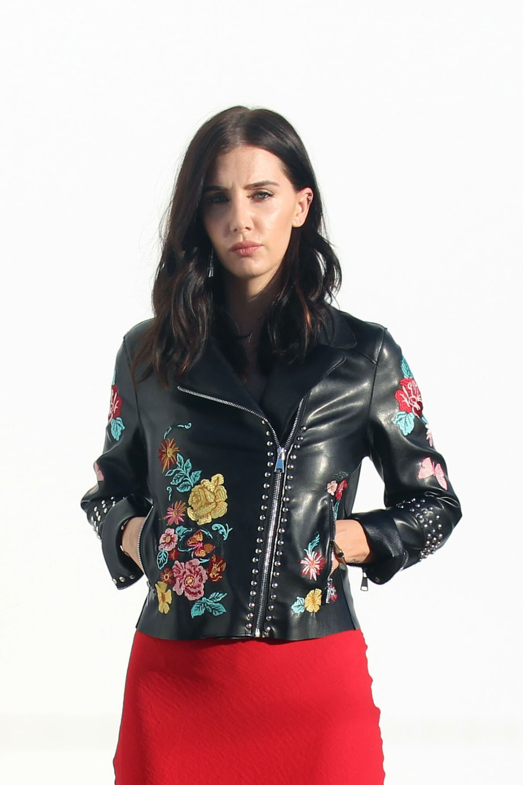 slip dress, embroidered leather jacket, fall 2016 trends