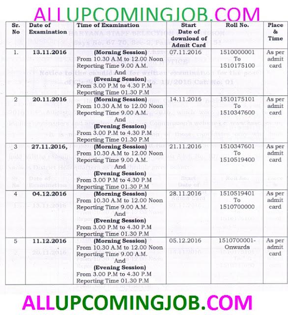 Haryana SSC Exam Clerk Admit Card 2016 www.hssc.gov.in
