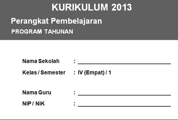 Program Tahunan Kelas 4 Kurikulum 2013